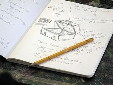 Skissbok med teckning av en väska, Föreningen Artikel 31.
